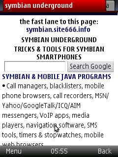 Opera Mini Symbian S60 mobile phone web browser