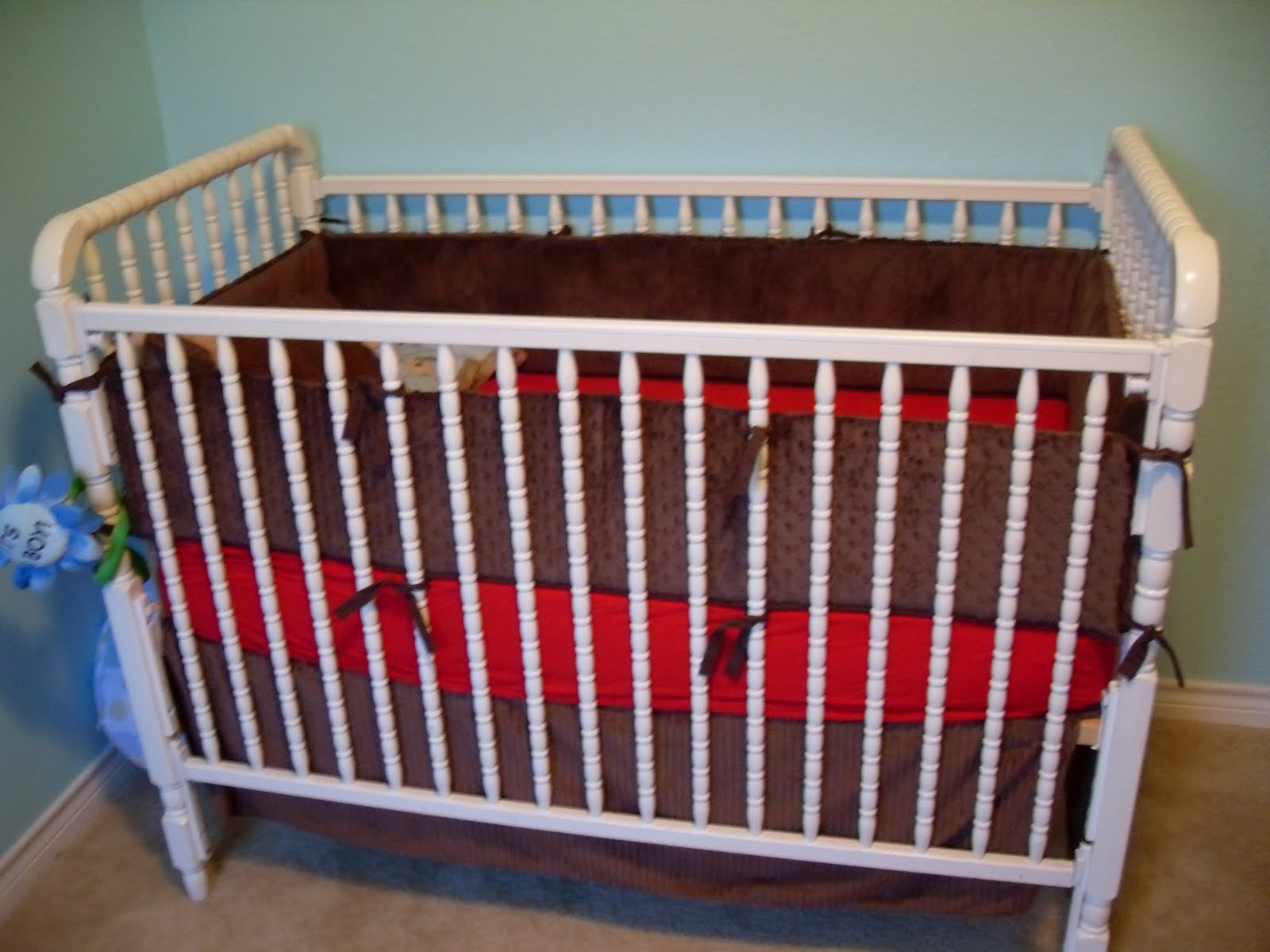 give me the simple life red white blue and brown nursery. Black Bedroom Furniture Sets. Home Design Ideas