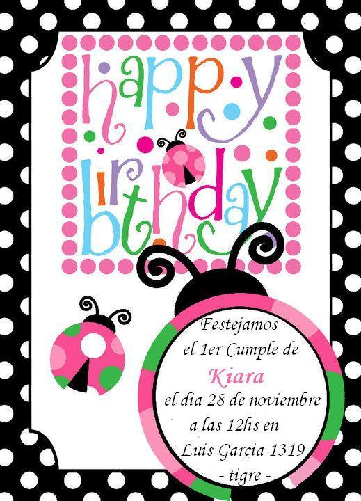 Tarjeta de invitación a cumpleaños de vaquita de san antonio - Imagui