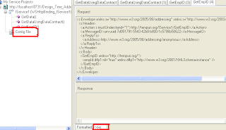 XML and config tabs in WCF Test client