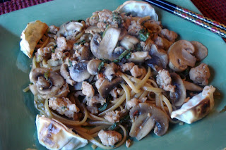 Mika's Pantry: Stir-fried Pork with Mushrooms and Spicy Sesame Noodles