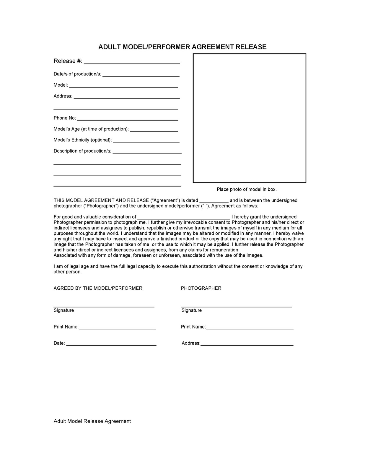 Due To The The Type Of Studio That We Are Running The Conditions Of The  Previous Form Are Of No Use To Us. Below Is The Model Release Form That I  Have ...