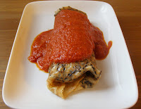 Wild Rice Crepes with Chickpeas, Mushrooms and Spinach filling and a roasted red pepper tomato sauce