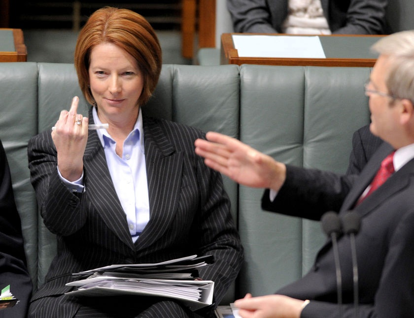 julia gillard hot. Julie Gillard#39;s middle finger