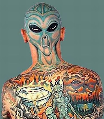 Awesome Avatar Tattoo On Mr. Avatar's Back · Funny Bald Head Tattoos