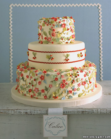 Calico Wedding Cake Vintage Graphic Floral Cotton Wedding Cake