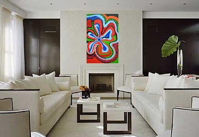 Paint Living Room Ideas on Hibiscus Wall Painting Arts In White Living Room Design