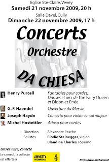 Affiche concert Da Chiesa Nov. 2009