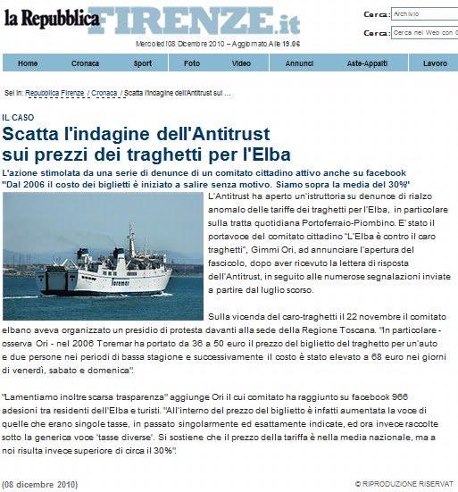 Il caso : l'Elba su Repubblica Firenze