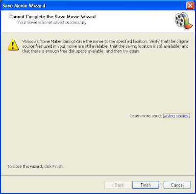 Windows Movie Maker cannot save the movie to the specified location. Verify that the original source files used in your movie are still available, that the saving location is still available, and that there is enough free disk space available, and then try again
