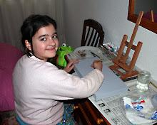 Mi hija Pilar pintando