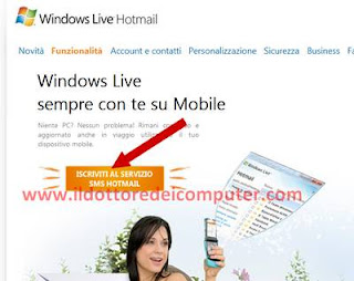 sms hotmail leggere email da cellulare