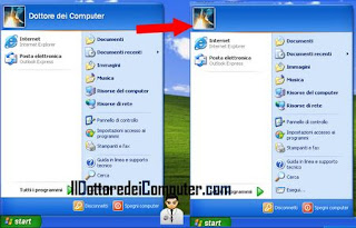rimuovere username windows xp