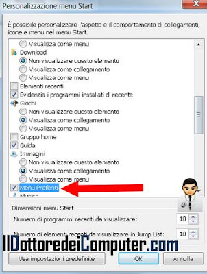 impostare menu classic windows 7