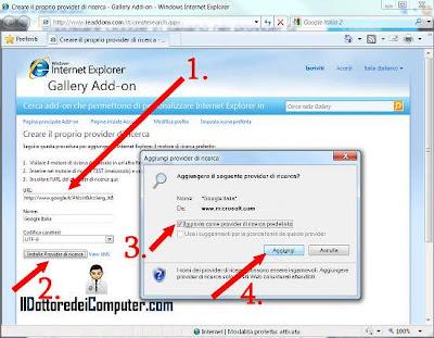 provider ricerca internet explorer google italiano