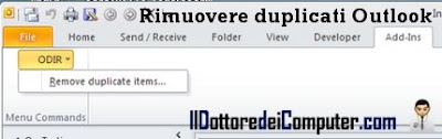 rimuovere file duplicati outlook