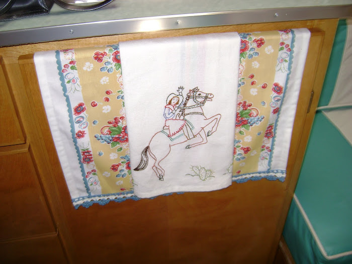 Cowgirl dishtowel I embroidered this summer
