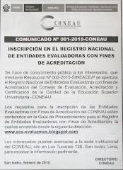 COMUNICADO 001 - 2010