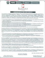 Comunicado Nº 001-2009-SINEACE