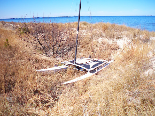 Boat stuck on wrong side of dunes - Chick's Beach - Feb. 2010