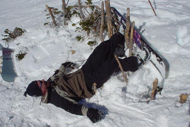 Falling on snowboard