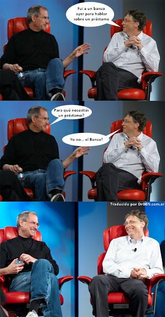 Imagen de Steve Jobs y Bill Gates - préstamo al banco