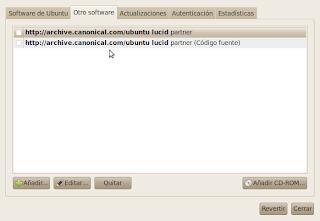 Imagen de como habilitar un repositorio en Ubuntu 10.04 Lucid Lynx