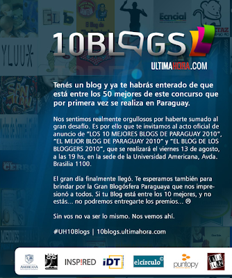 Imagen de invitación oficial de los 10 mejores blogs de paraguay