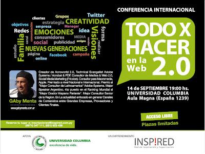 Imagen de una conferencia Internacional - Todo por hacer en la web 2.0 con Gaby Menta