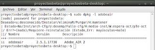 Imagen de un ejemplo que indica la versión de Adobe Air en Ubuntu