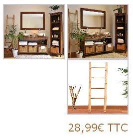 meuble de salle de bain en teck echelle bambou pour salle. Black Bedroom Furniture Sets. Home Design Ideas
