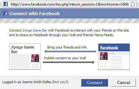 facebook connect with zynga