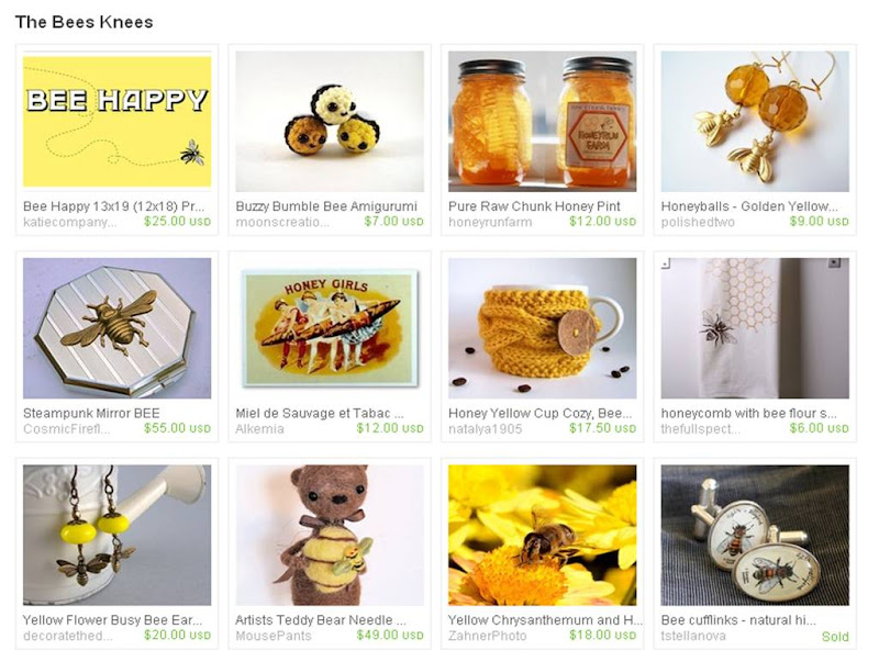 katie company prints, etsy treasury, bee happy, bumble bee