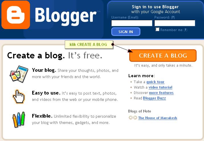 Panduan mendaftar google blogger tutorial blogger blogspot for Build blog