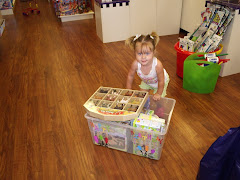 Hannah making her birthday box at Learning Express...