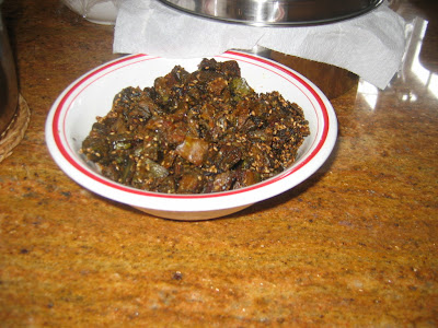 Fried patra in oil with spices