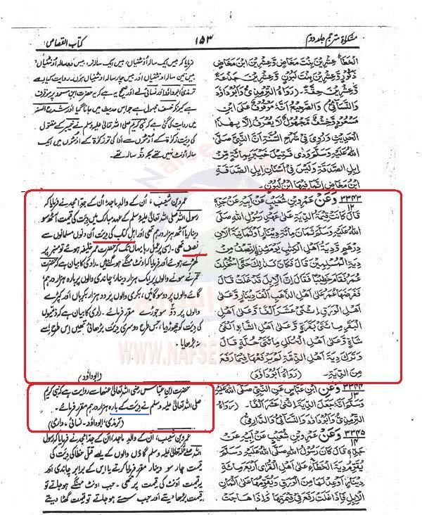 Aorat  ki  Diyat Mishkat+4