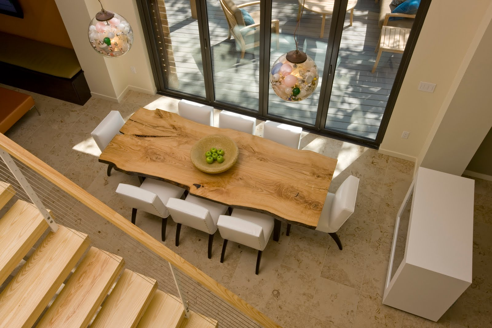 Beebee Grace Wood Tables White Chairs