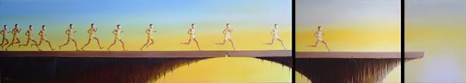 Maratona 40 x 234 cm (total do tríptico) Óleo sobre tela 2004