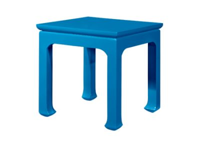 Square shiny blue side table from Clayton Gray Home