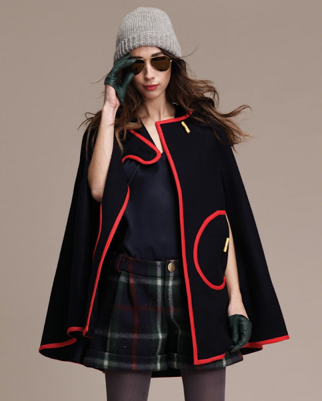 Military inspired cape with red piping from Lauren Moffat