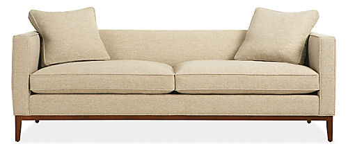 Light tan sofa with two cushions from Room &amp; Board
