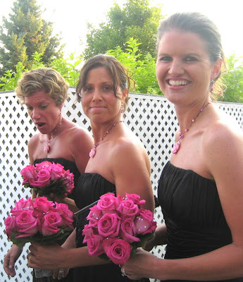 Bridal party hot pink rose bouquets with crystals Ceremony