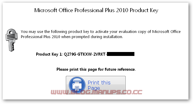 product key for ms office professional plus 2010