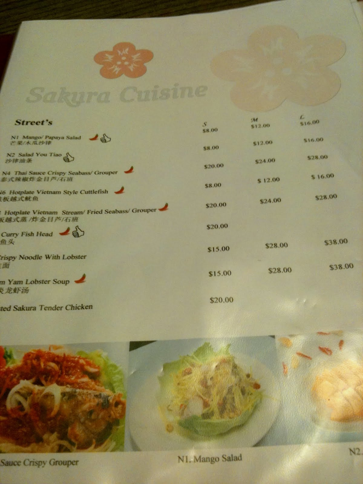 Queenliynspot sg food review sakura thai chinese looking at their menu they have the typical thai cuisine which can also be found at bali thai or siam kitchen plus the food was kind of pricey forumfinder Image collections