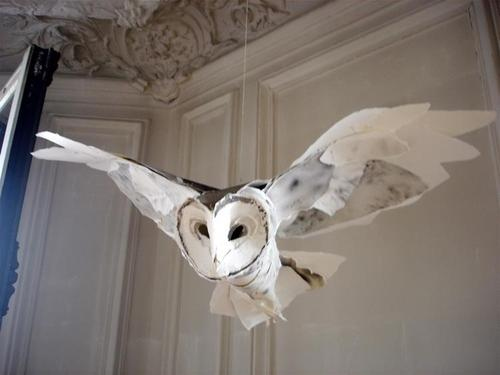 Wattlebird amazing hedwig paper sculpture for Diy paper mache owl