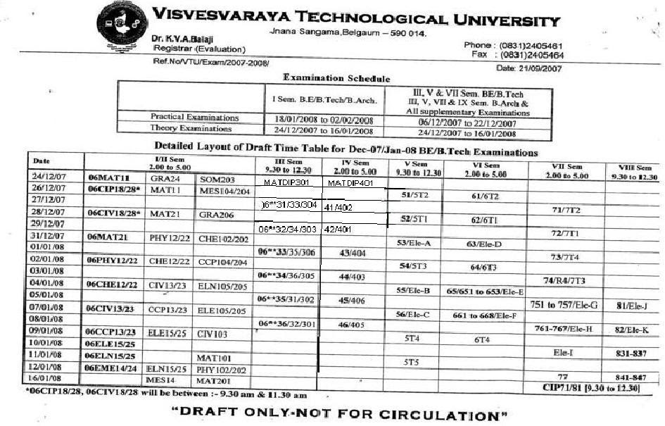 Vtu news draft time table for dec 07 jan 08 be b tech for Rdvv 5th sem time table