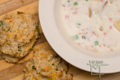 Clam chowder and garlic cheddar biscuits