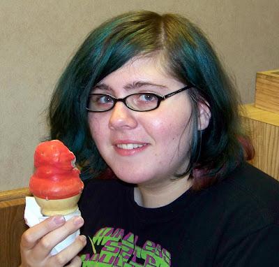 Amanda & a cherry-dipped cone