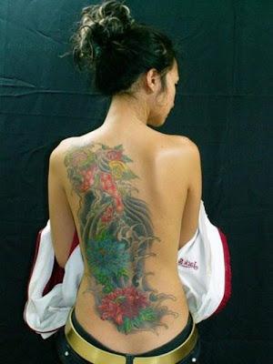 Best Tattoo Design on Full Back Body Girl Sexy